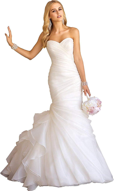 Alexzendra Ruffles Mermaid Wedding Dress for Bride Sweetheart Neck Bride Gown 2019