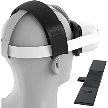 KIWI design Headband Head Strap for Oculus Quest/Quest 2/Oculus Rift Virtual Reality VR Headset Accessories, Comfortable PU Leather and Reduce Head Pressure (Black)