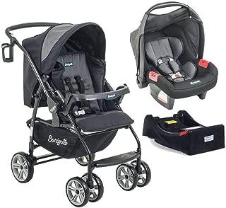 Carrinho de Bebê AT6 K + Bebê Conforto Preto/Cinza + Base - Burigotto