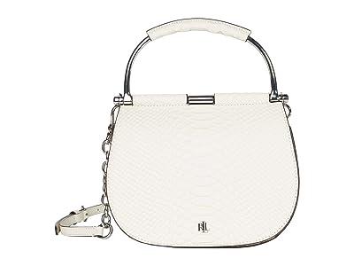 LAUREN Ralph Lauren Enfield Matte Python Suede Mason 20 Satchel Mini (Vanilla) Handbags