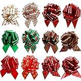 12 piezas Navidad Pull Regalo Arcos,4,3 pulgadas Tire de Navidad Cintas de lazo Decoraciones para regalos,Bolso de canasta de regalo, Día de Boxeo,Red Gold Snow Reno Bows para regalos