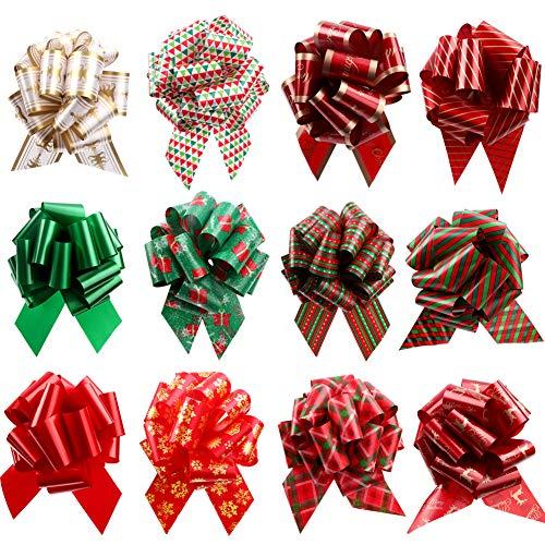 Fiocchi da tirare per regali di Natale, 10,9 cm, fiocchi da tirare, decorazioni per regali, cesto regalo, scatola, colore: rosso, verde, oro, renna