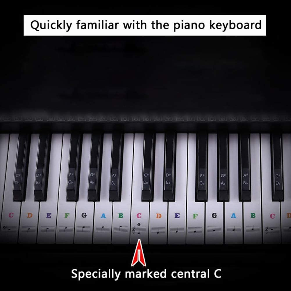 EFINNY Piano Sticker Transparent Piano Keyboard Sticker Removable Electronic Keyboard 37//49//54//61//88 Key Piano Sticker For Kids Beginners Piano Practice