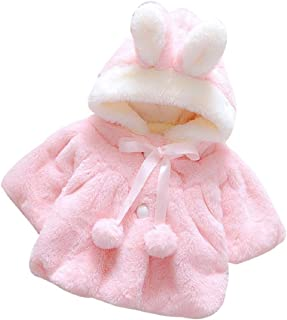Baby Infant Girls Fur Winter Warm Coat Cloak Jacket Thick Warm Clothes (9M/ Label Size:70, Pink)