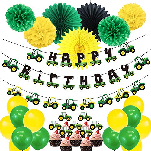 SUNBEAUTY Kids Birthday Party Decorations Tractor Theme Happy Birthday Banner Cupake Toppers Paper Fans Pom Poms Latex Balloons for Boys Birthday Baby Shower Party Supplies