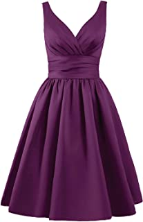 JAEDEN Bridesmaid Dress Short Prom Dress Satin Evening Party Dress V Neck Bridesmaid Dresses