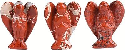 JIC Gem Red Jasper Healing Crystal Gemstone Chakra Pocket Guardian Angel Figurines 1.5 inch 6pc