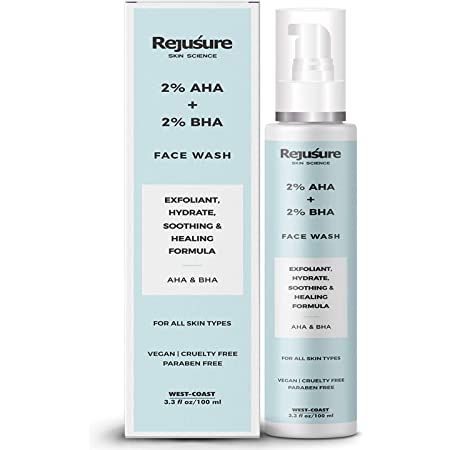 Rejusure AHA 2% + BHA 2% Face Wash for Exfoliant, Hydrate, Soothing & Healing Formula – 100ml