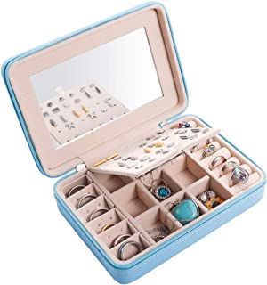 Jewelry Box Faux Leather Jewelry Case Various Compartments with Mirror for Rings Earrings Necklace Bracelets