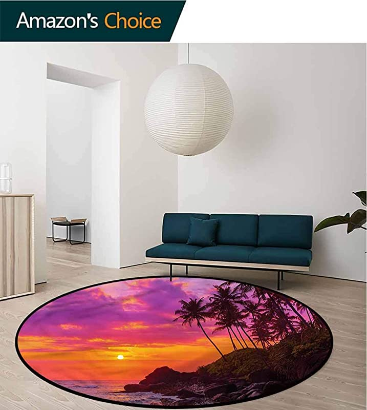 RUGSMAT Ocean Super Soft Circle Rugs For Girls Exotic Beach With Palm Trees Carpet Door Pad For Bedroom Living Room Balcony Kitchen Mat Diameter 24