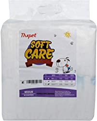 Thxpet Disposable Dog Diapers for Female Dogs ,Urine Show Design, Super Absorbent Leak-Proof 30 Count
