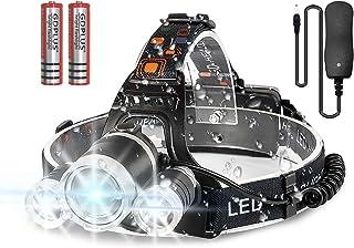 Newlemo Linterna Cabeza, Linterna LED Recargable con 3 Luces - 4 Modos, Ajustable y Cómodo de Llevar, Linterna Frontal Imp...