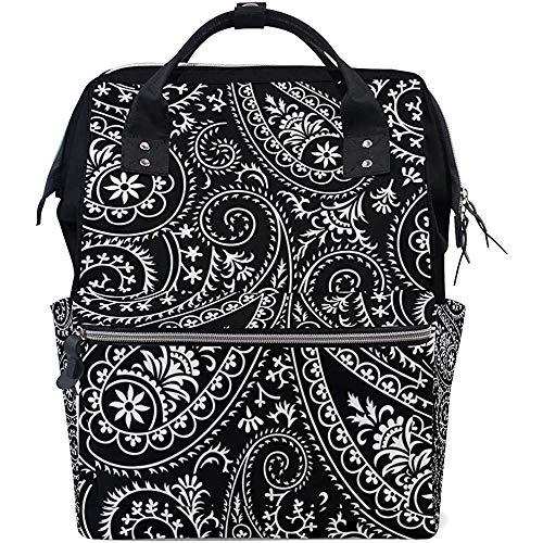 Backpack Motif Paisley Zipper Travel Diaper Dad Sac À Dos Unisexe Grande Capacité Casual Sacs De Bébé Maman Sacs À Dos Multifonctions 28X18X40Cm