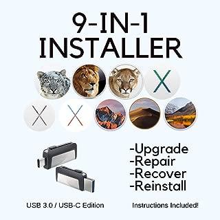 MacOS 9-in-1 Dual USB/USB-C Recovery-Install Disk - Mojave, High Sierra, Sierra, El Capitan, Yosemite, Mavericks, Mountain Lion, Lion, Snow Leopard, Mac OS X USB