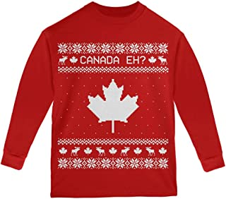 Old Glory Canadian Canada Eh Ugly Christmas Sweater Youth Long Sleeve T Shirt