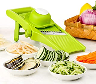 Lekoch Vegetable Mandoline Slicer Hand-held Kitchen Food Julienne Cutter for Onion Rings,Chips and French Fries - 5 In 1 Adjustable Fruit Slicer with Premium Stainless