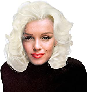 Riglamour Wavy Short Blonde Wig for Women Half Hand Tied Lace Front Synthetic Wigs #1001 Color Heat Resistant 100% Fiber Hair Costume Wigs