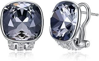 Vogzone French Clip Earrings Swarovski Crystal Piercing Silver CZ Stud Earrings for Women Omega Back earrings Wedding Jewelry Gifts for Mom