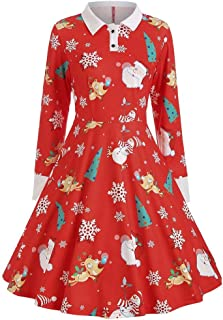 Women 1950s Button Christmas Printing Vintage Gown Evening Party Dress A-Line Dress