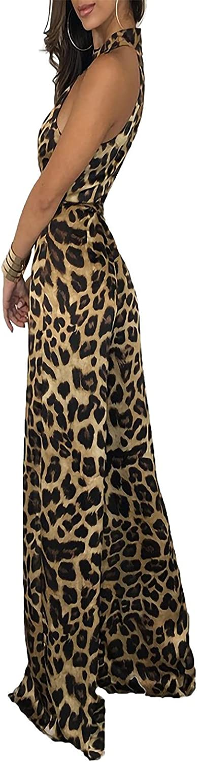 tuduoms Women's Summer Flowy Plus Size Sleeveless Printing Dresses, Loose Leopard Print Sexy Jumpsuits