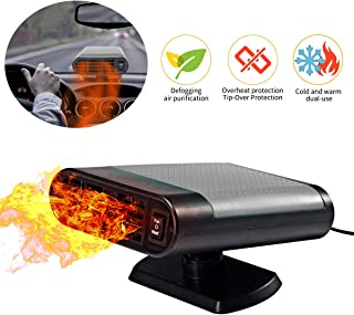 Portable Car Heater, JINGOU 12V 150W Car Winter Windscreen Window Defroster Demister Plug in Cigarette Lighter, 360 Degree Rotating Fast Heating and Cooing Defogger, Easy Defrost Defog Snow Removal