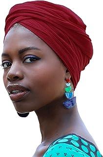 HOMELEX أغطية الرأس العمامة تمتد جيرسي متماسكة أغطية الرأس التفاف وشاح عمامة التعادل للنساء (الخمري)