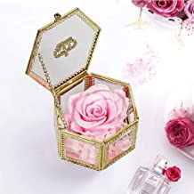 SANRAN Eternal Flower | Preserved Rose, Real Forever Rose in Delicate Metal Box, for Mom, Girlfriend, Her, Mother's Day, Valentine's Day, Thanksgiving Day, Christmas, Anniversary (Bright Pink)