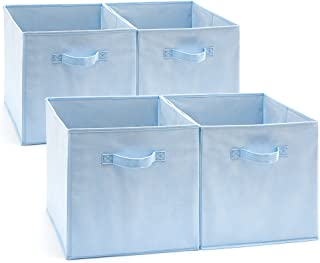 EZOWare Set of 4 Foldable Fabric Basket Bin, Collapsible Storage Cube Boxes for Nursery Toys (13 x 15 x 13 inches) (Blue)