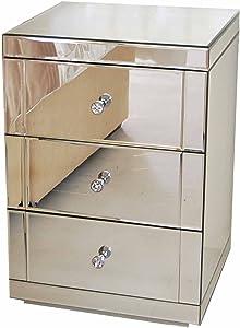 My-Furniture - LUCIA - Comodino a specchio a 3 cassetti - serie CHELSEA