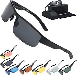 Xloop Polarized Aircraft Aluminum Driving Wrap Around Sunglasses For Men