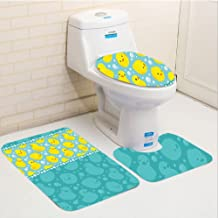 Keshia Dwete three-piece toilet seat pad customRubber Duck Cute Yellow Cartoon Duckies Swimming in Water Pattern with Fun Bubbles Aqua Colors Teal Yellow