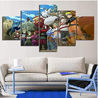 5 Pieces Naruto Anime Painting Canvas Art Paints Wall Sticker Living Room Decor Canvas Artwork HD Wallpaper Murals Oil Pai...