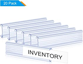Lenink 20Pcs Plastic Wire Shelf Label Holders Compatible with Metro and Nexel 1-1/4in Shelves,Label Area 6in Lx1.25in H