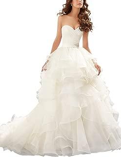 Women's Beaded Organza Sweetheart Wedding Dresses Ruffles Bridal Gowns
