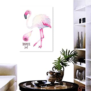 Anzhutwelve Wall Stickers for Boys Watercolor Hand Painted Tropical Pink Flamingo and Calla Lily Flower Isolated on White Background 20