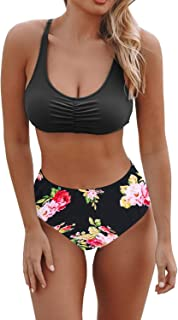 Byoauo Two Piece Swimsuits for Women Lace up High Wasited Bikini