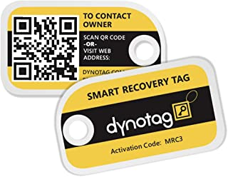 Dynotag Web Enabled Smart Mini Fashion ID Tags, with DynoIQ & Lifetime Recovery Service. 3 Identical Tags for Gear (Bumble...