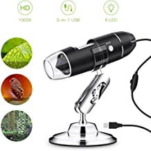 USB Microscope, KinCam 1080P Digital Microscope Up to 1000X Zoom 1080P 2.0 MP with 8 Adjustable LED Lights and 3-in-1 Micro USB/Type-C/USB, Compatible with Windows 7 8 10, Mac and Android