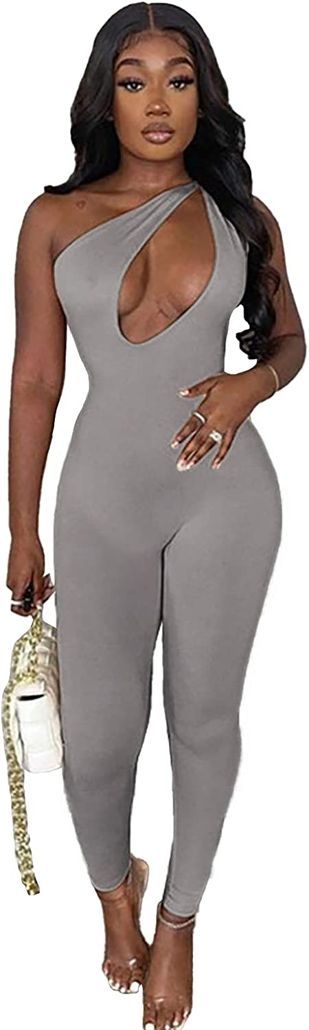 ECHOINE Year-end gift Womens Sexy Solid Don't miss the campaign Bodycon Jumpsuit Out Cut Sleevel Front