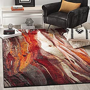Safavieh Glacier Collection GLA126A Modern Abstract Non-Shedding Stain Resistant Living Room Bedroom Area Rug, 4′ x 6′, Red / Multi