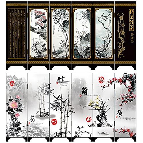 BEYOHIR Peinture Antique Chinoise paravents décoration de Bureau Ornements Antiques Laque Petits paravents 6 Panneaux Cadeaux d'art