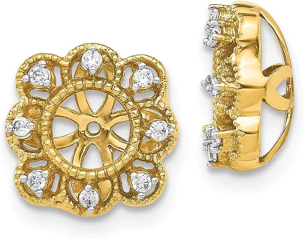 14K Yellow Gold Diamond Flower Earring Jackets 4.50 mm Opening for Stud Earrings (0.096Cttw)