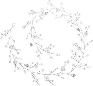 Yean Wedding Headband Silver Wedding Hair Vine Long Rhinestones Flower Opal Wedding Headband Bridal Hair Accessories for Bride and Bridesmaids (70cm / 27.56in)