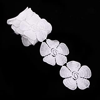 Computer accessories - Embroidery White Flower Pattern Trim Applique Ribbon 1 Yards Sewing DIY Craft Multi Purpose Art Project