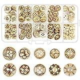 INHEMING 100 Pezzi Bottoni in Legno Rotondo, Naturale,2/4 Fori,per Cucire Decorazioni Artigianali (10/11 /12/ 13mm)
