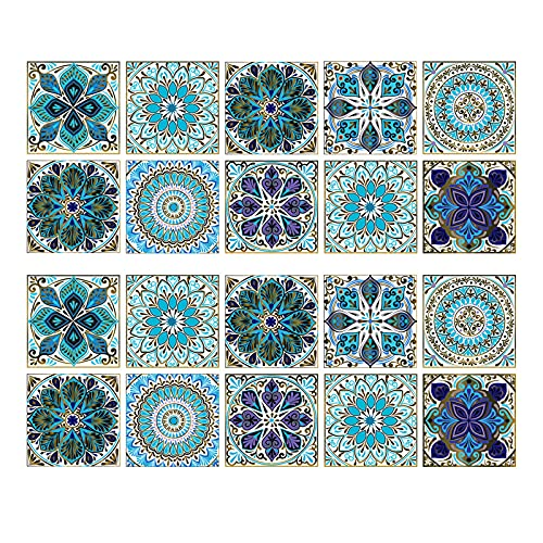 Hwtcjx cenefa adhesiva cocina 15 x 15cm, vinilos baño azulejos, 20 piezas vinilo azulejo baño, Hecho de material de PVC, autoadhesivo, impermeable, fácil de fregar, para cocina, muebles, baño (azul)