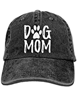 Unisex Dog Mom Vintage Jeans Adjustable Baseball Cap Cotton Denim Dad Hat Black