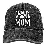 Unisex Dog Mom Vintage Jeans Adjustable Baseball Cap Cotton Denim Dad Hat Black