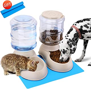 Automatic Cat Feeder and Water Dispenser in Set with Pet Food Mat for Small Large Dog Pets Puppy Kitten Big Capacity 1 Gallon x 2