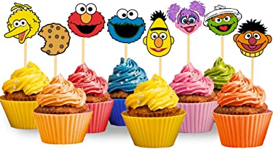 24PCS Sesame Street Inspired Cupcake Topper for Birthday Party Supplies Elmo Cake Topper Cookie Monster Cake Decoration